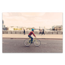 Hipster Man Cycling Canvas Print