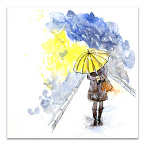 Yellow Umbrella Wall Art Print