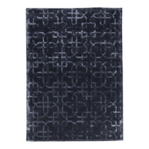 Black Grey Geometric Patterned Rug