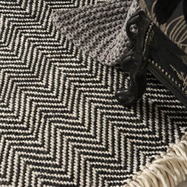 Black Triangular Geometric Patterned Rug