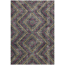 Pink Grey Triangular Geometric Patterned Rugs