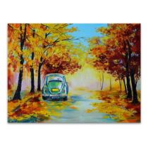 Car in Autumn Road Art Print