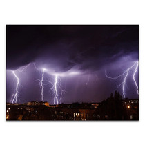City Lightning Storm Wall Art Print