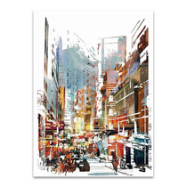 Busy City Street Wall Art Print