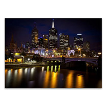 Melbourne Skyline at Night Wall Print