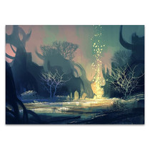 Dark Mysterious Forest Wall Art Print