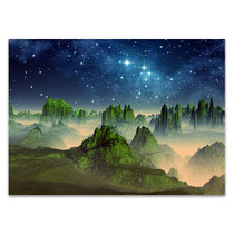 Green Fantasy Mountain Wall Art Print