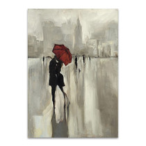 Lovers Under the Rain Wall Art Print