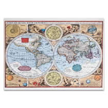 17th Century World Map Wall Print