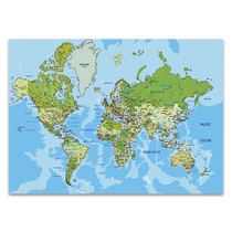 Global World Map Wall Art Print