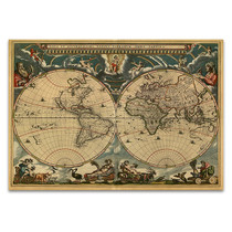 World Vintage Map Wall Art Print