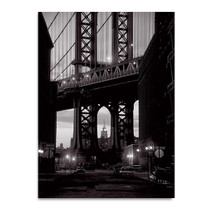 Black and White Manhattan Bridge Wall Print