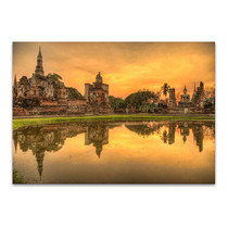 Buddhist Temple at Dusk Wall Print