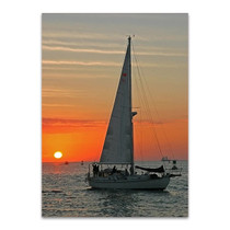 Sailboat on Sunset Wall Art Print