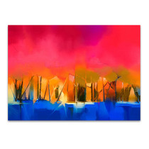 Gold Tree and Red Sky Wall Art Print