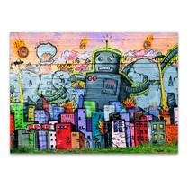 Urban Graffiti Robot Wall Art Print