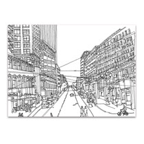 Cityscape Seattle Line Wall Art Print
