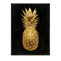 Gold Pineapple on Black II Wall Art Print
