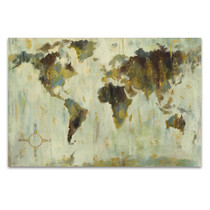 Bronze World Map Wall Art Print