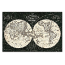 French World Map Wall Art Print