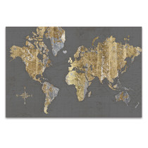 Gilded Map Grey Wall Art Print