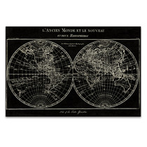 Map of the World Black Wall Art Print