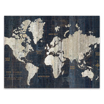 Old World Map Blue Wall Art Print
