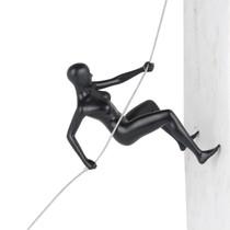 Poly Resin Climbing Woman Matte Black