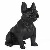 Poly Resin French Bulldog Sitting Matte Black