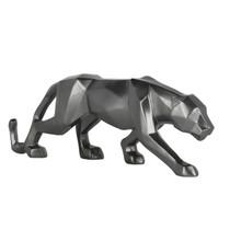 Poly Resin Geometric Panther Metallic Grey Small