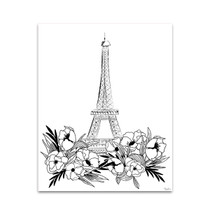 Eiffel Black and White Wall Art Print
