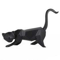 Poly Resin Geometric Cat Matte Black