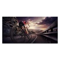 Cyclist on Sunset Canvas Art Print