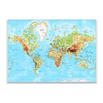Labeled World Map Wall Art Print