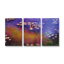 Purple Water Lilies - 3panels