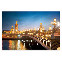 Night Lights in Paris Bridge Art Print