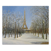 Snowfall Eiffel Tower Art Print