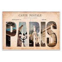 Vintage Paris Tourist Spots Art Print