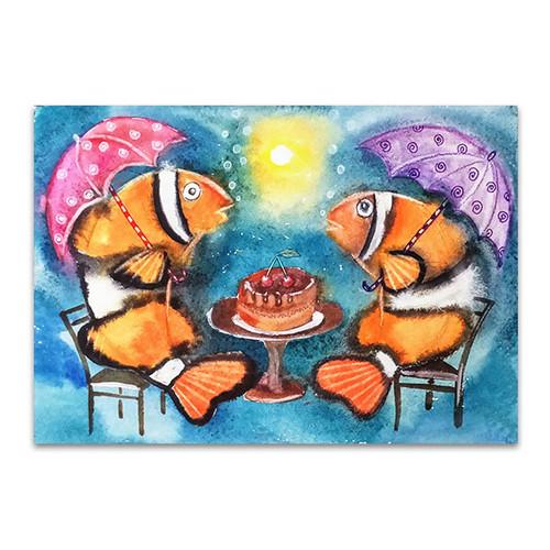 Fish With Umbrellas Canvas Print