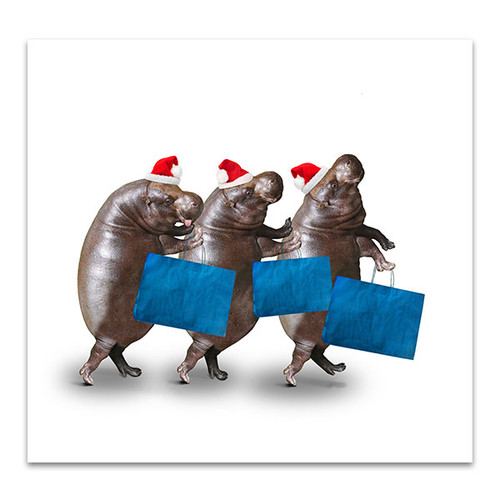 Hippos Shopping Canvas Art Print