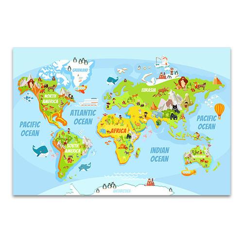 Cartoon World Map Canvas Art Print