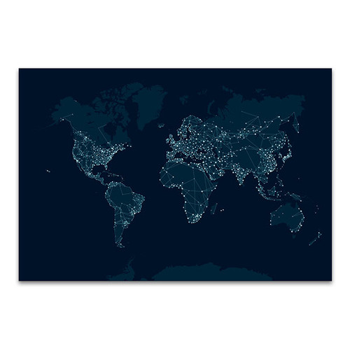Communications Network Map Canvas Print