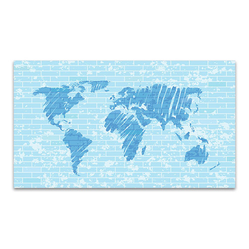 Map On Brick Wall Art Print
