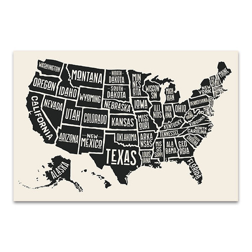 State Names Map Canvas Art Print