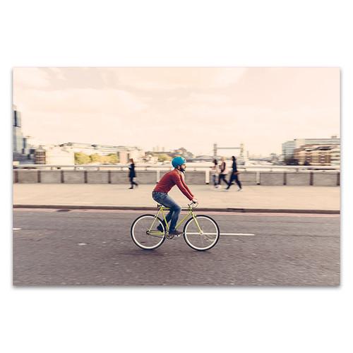 Hipster Man Cycling Canvas Print