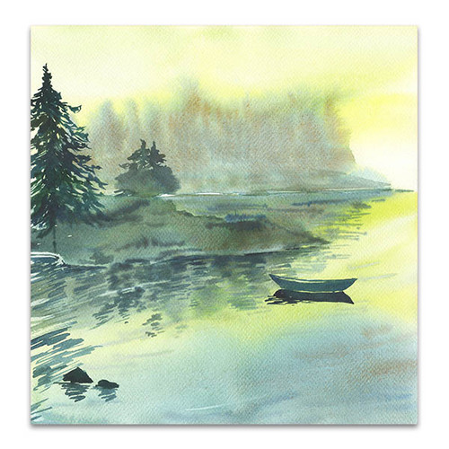 Lake And Boat Wall Art Print
