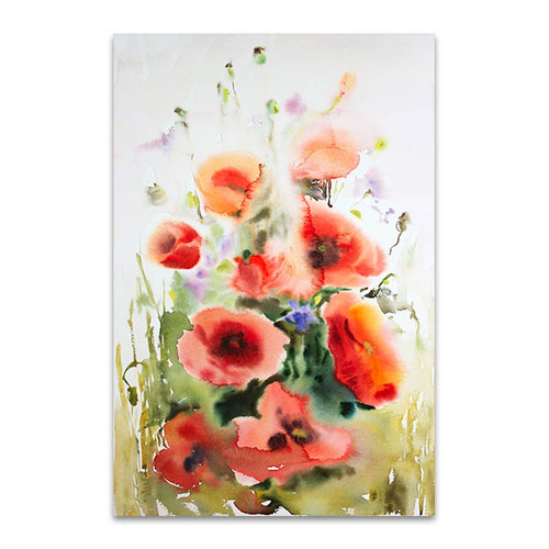 Watercolour Of Poppies Wall Print