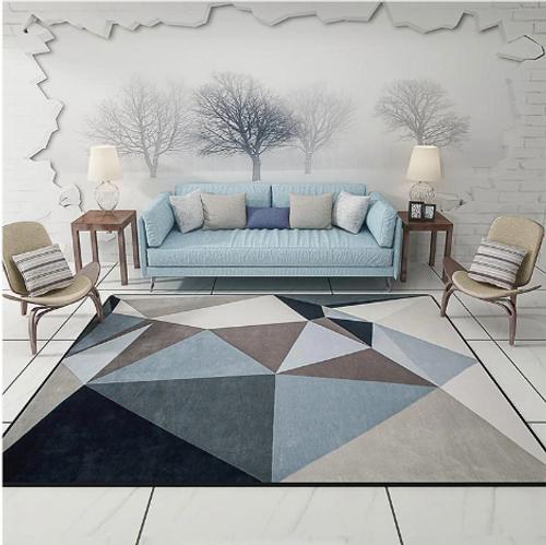 Blue Geometric Carpet Large