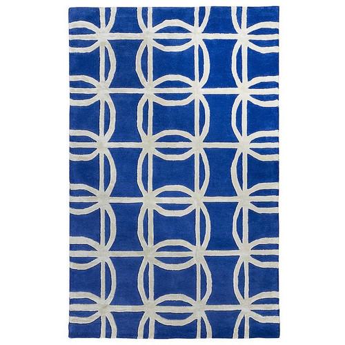 Blue Light Grey Geometric Patterned Rug