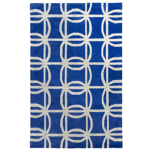 Blue Light Grey Geometric Patterned Rug